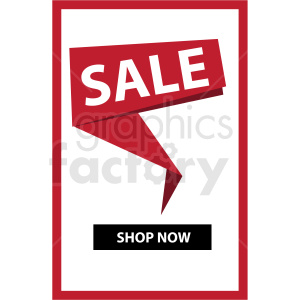 sale shop now notification banner with red border icon vector clipart clipart. Commercial use image # 412673