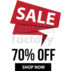 70 percent off sale shop now banner with no border icon vector clipart clipart. Commercial use image # 412685