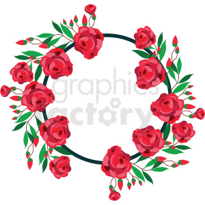 rose border circle frame vector graphic clipart. Commercial use image # 412689