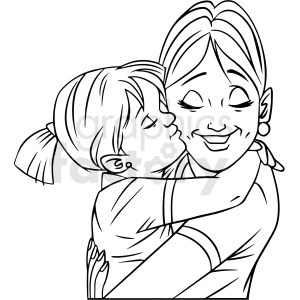 black and white mom hugging daughter vector clipart clipart. Commercial use image # 412704