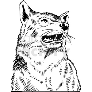 black and white wolf vector clipart