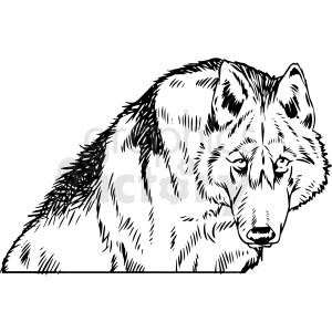 black and white wolf hunting vector clipart