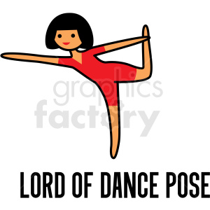girl doing yoga lord of dance pose vector clipart clipart. Royalty-free image # 412800