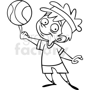 black and white cartoon child playing basketball vector clipart. Commercial use image # 412844