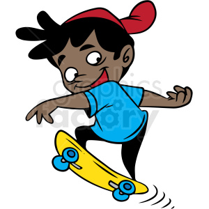 hispanic cartoon child skateboarding vector clipart. Commercial use image # 412870