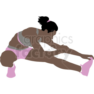 african american girl stretching vector illustration clipart. Commercial use image # 412903