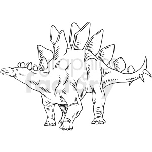 black and white Stegosaurus dinosaur vector illustration clipart. Commercial use image # 412915