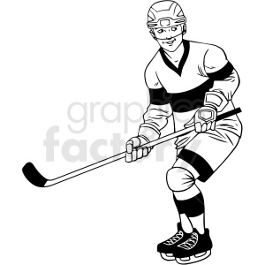black and white hockey player waiting for puck clipart design clipart. Royalty-free image # 412929