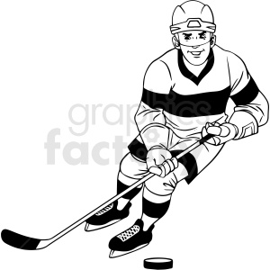 black and white hockey player skating with puck clipart clipart. Royalty-free image # 412934