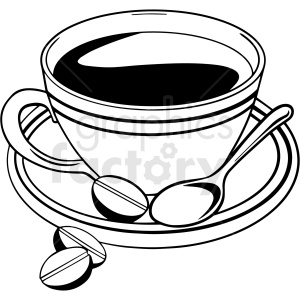 black and white coffee cup vector clipart clipart. Commercial use image # 412994