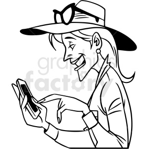 black and white woman laughing at her phone vector clipart clipart. Royalty-free image # 413065
