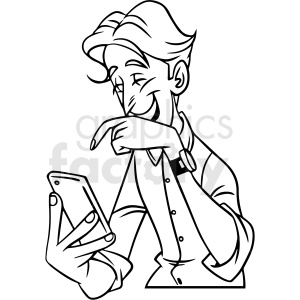 black and white man laughing at his phone vector clipart