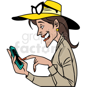 cartoon woman laughing at her phone vector clipart