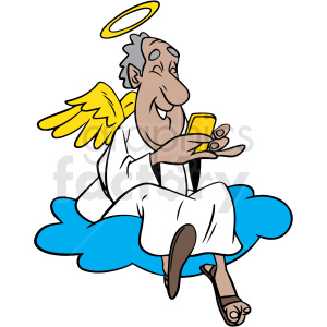 angel sitting on cloud laughing at his phone vector clipart