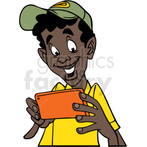 african american boy laughing at his phone vector clipart