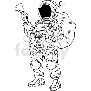 black and white astronaut santa vector clipart clipart. Commercial use image # 413181