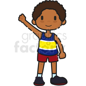 cartoon African American boy holding arm up vector clipart clipart. Royalty-free image # 413274