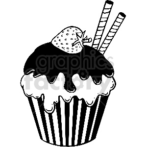 black and white cupcake vector clipart clipart. Commercial use image # 413308