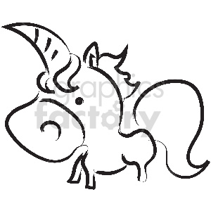 black and white tattoo unicorn vector clipart clipart. Commercial use image # 413354