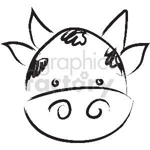 black and white tattoo cow face vector clipart