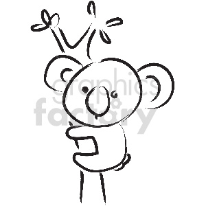 black and white tattoo koala vector clipart clipart. Commercial use image # 413384