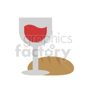 red wine and bread vector clipart. Commercial use image # 413423