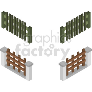 buildings isometric fence