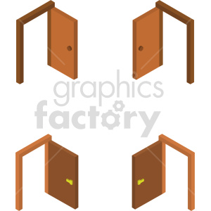 isometric door vector icon clipart bundle clipart. Commercial use image # 414028