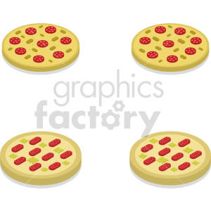 isometric pizza vector icon clipart bundle clipart. Royalty-free image # 414070