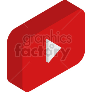 isometric play button vector icon clipart 3