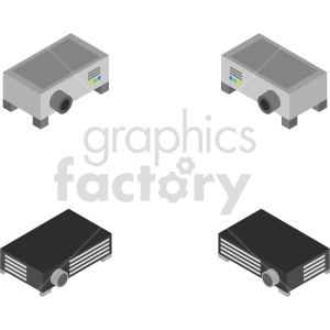 isometric projector vector icon clipart bundle clipart. Commercial use image # 414149
