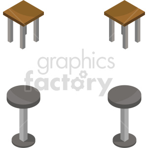 isometric bar stools vector icon clipart bundle clipart. Commercial use image # 414208