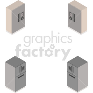 isometric refrigerators vector icon clipart set clipart. Commercial use image # 414223