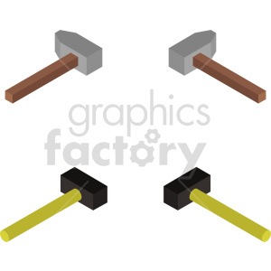 isometric hammer vector icon clipart 1 clipart. Commercial use image # 414421