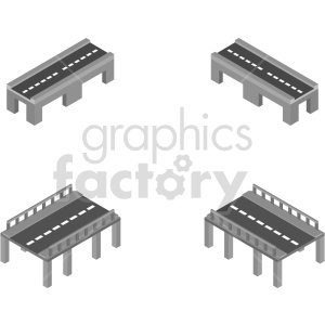 tools road bridges isometric