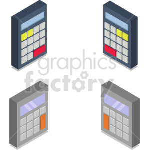 isometric calculators vector icon clipart bundle clipart. Commercial use image # 414462