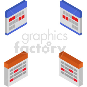 isometric calendar vector icon clipart 5 clipart. Commercial use image # 414475