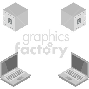 isometric safe and laptop set vector clipart clipart. Commercial use image # 414576