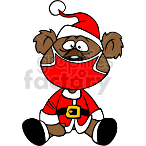Santa teddy bear wearing mask vector clipart clipart. Commercial use image # 414674