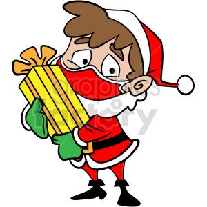 Santa child holding a present vector clipart