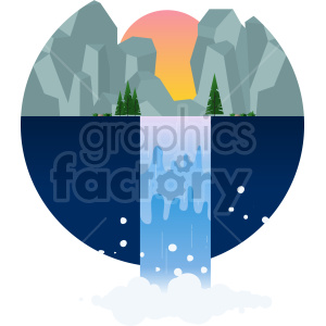 mountain waterfall vector clipart icon clipart. Commercial use image # 414736