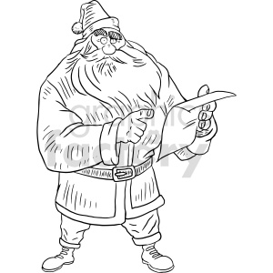 santa list black and white clipart clipart. Commercial use image # 414790