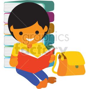 clipart - cartoon girl reading books vector clipart.