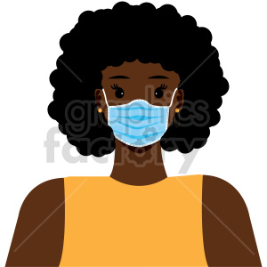 black lady weraing mask vector clipart