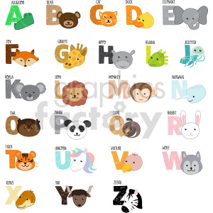 animal alphabet letters vector clipart