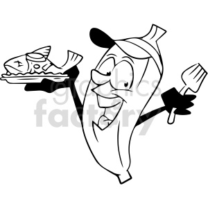 clipart - cartoon banana cooking fish black and white clipart.