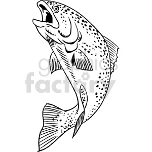 trout black and white clipart clipart. Commercial use image # 415053