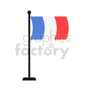 flag of France on pole vector icon clipart. Commercial use image # 415300