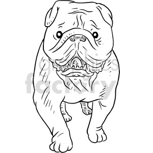 black and white bulldog front view graphic clipart. Commercial use image # 416117