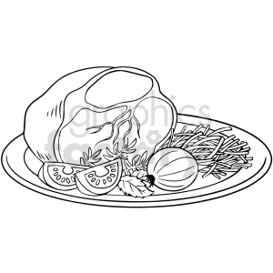 black and white ham dinner vector clipart clipart. Commercial use image # 416120